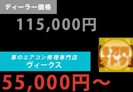 ディーラー価格115,000円がVicus(ヴィークス)だと55,000円~。6万円もお得!